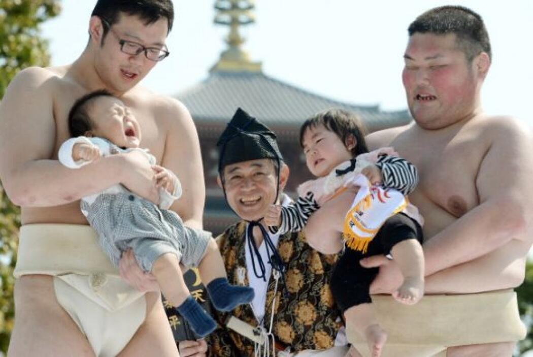 Estos luchadores de sumo compiten con sus bebés. El que llore más fuerte...