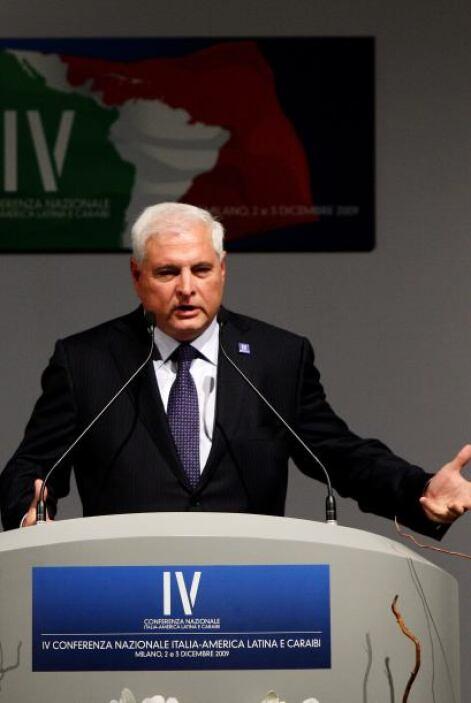 El presidente de Panamá, Ricardo Martinelli, quien se e ncuentra a final...