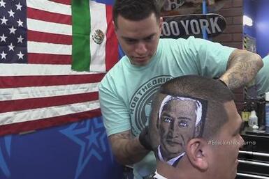 Hombre se pinta cara de Jorge Ramos en la cabeza