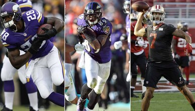 Adrian Peterson, Steve Smith y Colin Kaepernick.
