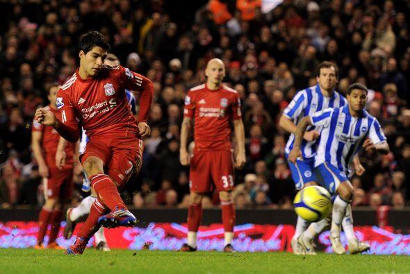 Se marcó un penalti a favor de los 'Reds', pero Suárez lo falló.