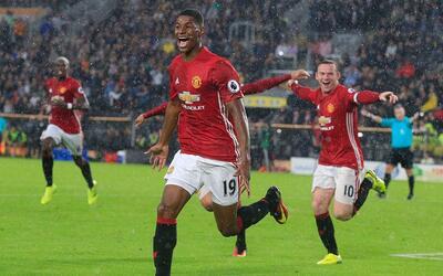 Marcus Rashford celebra el gol del triunfo del Man-U.