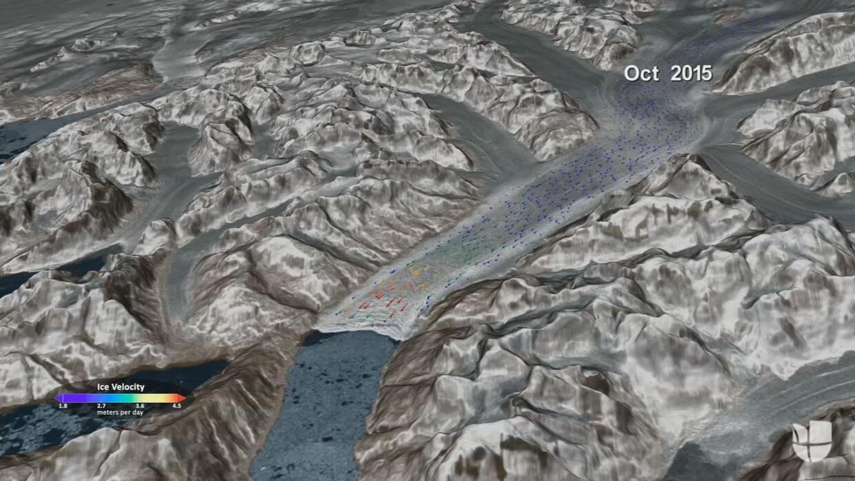 El hielo se mueve así de rápido en Groenlandia