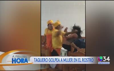 Empleado de taquería golpeó a una mujer en pleno restaurante