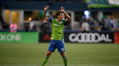 Nelson Haedo Valdez celebra con Seattle Sounders