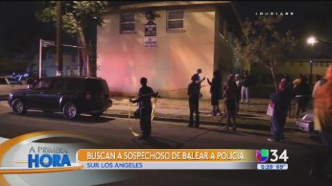 Buscan a sospechoso de balear a un policía en el sur de Los Ángeles