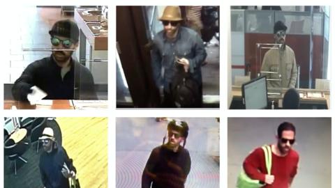 Imágenes tomadas de las cámaras de seguridad de algunas de las sucursale...