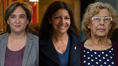 Las alcaldesas Ada Colau (Barcelona), Anne Hidalgo (París) y Manu...