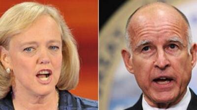 Meg Whitman y Jerry Brown, candidatos a la gobernación de California.
