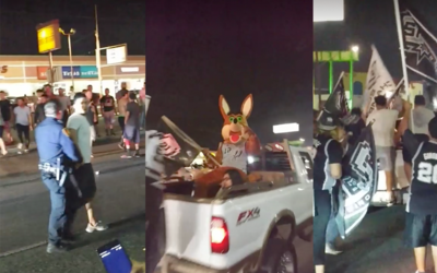 Spurs Fans spill into Military Drive celebrating