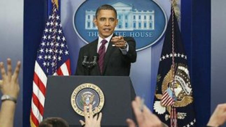 El Presidente Barack Obama durante la primera conferencia de prensa de 2...