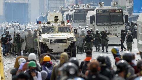 Este 22 de mayo continuaron las protestas contra el presidente Maduro en...
