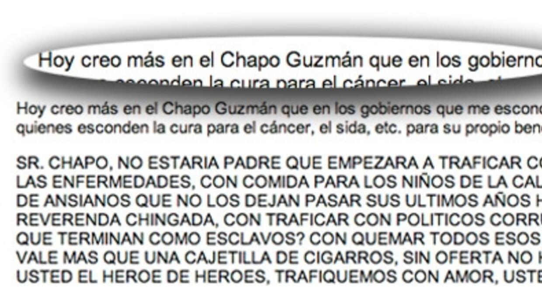 Fragmento de la carta publicada en 2012 por Kate del Castillo.