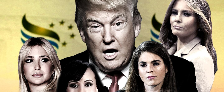 De izq. a der.: Ivanka Trump, Katrina Pierson, Donald Trump, Hope Hicks...