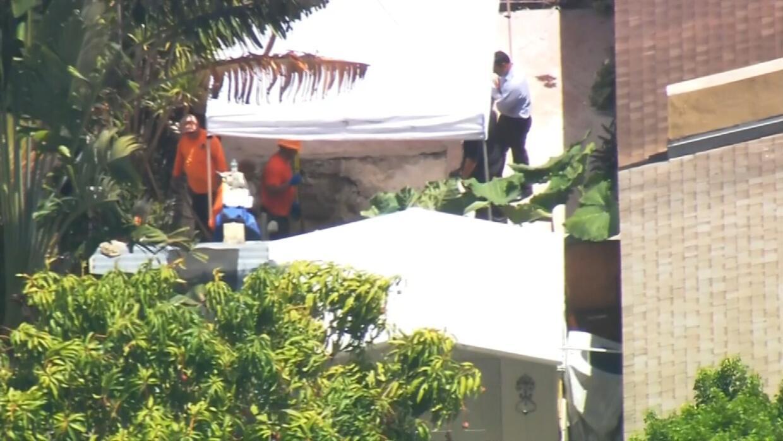 Un equipo de trabajo de la Policía de Miami Dade escava en el patio de u...