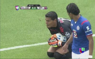 Cruz Azul vs Veracruz: Tiro de Joao Rojas directo al portero de los Tibu...