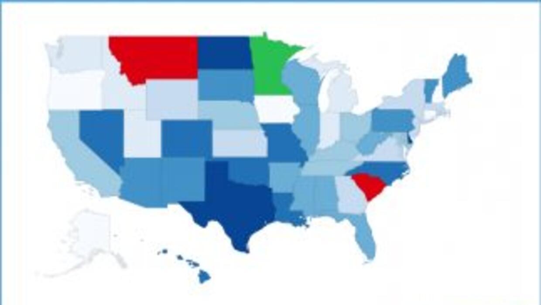 El mapa muestra en rojo dónde se encuentran los peores conductores. Imag...