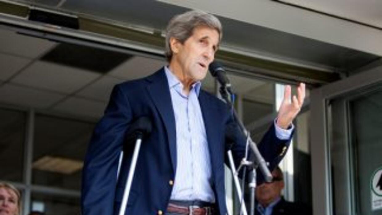 John Kerry a su salida del hospital.