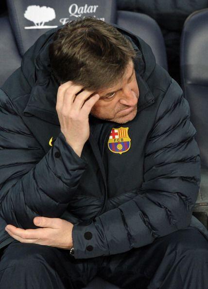 Preocupación en el banquillo del Barcelona con el gol en contra.
