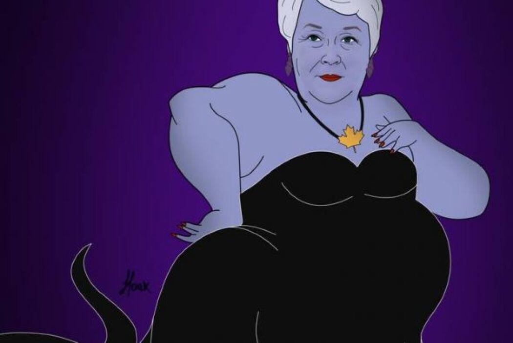 Con esta imagen representó a Pauline Marois como la malvada pulpo Ursula...