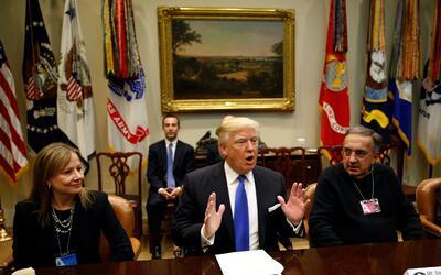 El presidente Trump durante su encuentro de esta mañana con repre...