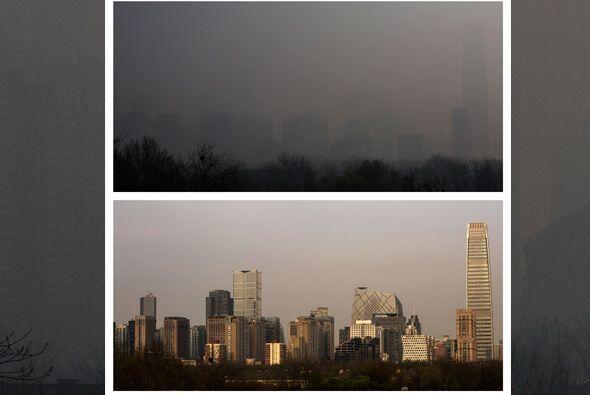 Estas dos fotos del paisaje urbano de Beijing muestran la calidad del ai...