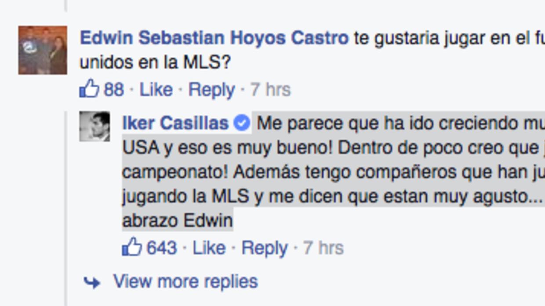 Casillas durante su Q&A en Facebook.