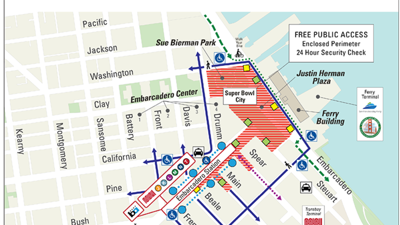 Mapa bicicleta y peatones Super Bowl