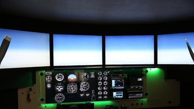 Recreación de la caída del avión al sur de Francia desde la cabina del p...