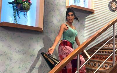 Detrás de cámaras: Mela disfrutó mucho su nueva travesura en las escaleras