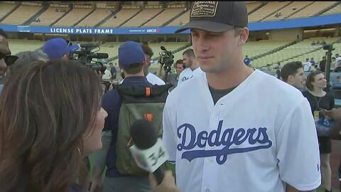 Jared Goff visita la casa de LA Dodgers