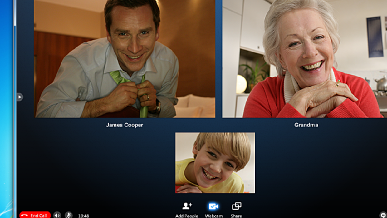 A Skype call between family.