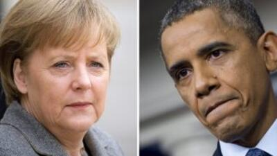 El miércoles Angela Merkel habló por teléfono con Obama, para exigirle q...