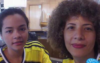 La Esposa de El Pibe Valderrama después del triunfo de Colombia