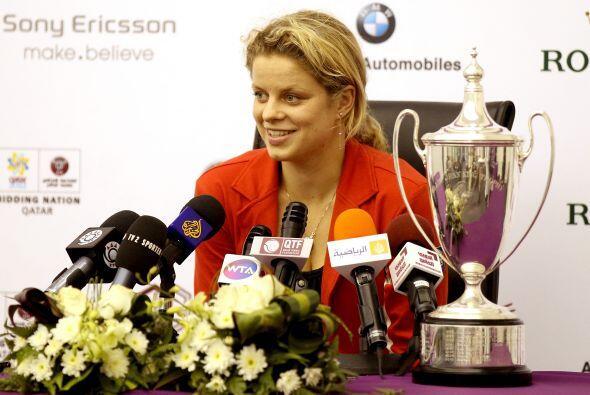 3° la belga Kim Clijsters, ganadora del Abierto de Doha.