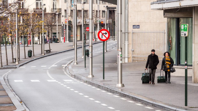 Calles prácticamente desiertas.