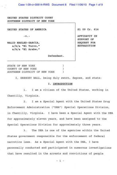 Declaración en apoyo a la solicitud de extradición de Makled a Colombia,...