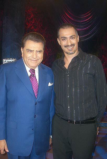 Don Francisco y el ilusionista Juan Carlos Rodarte.