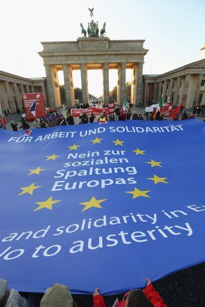 En Alemania también hubo algunas protestas por la difícil situación econ...