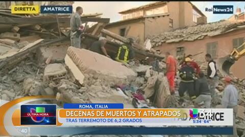 Terremoto de 6.2 dejó saldo de fallecidos en Italia