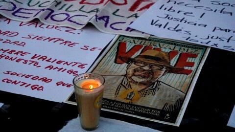 Homenaje a Javier Valdez, el periodista mexicano asesinado en Culiacán,...
