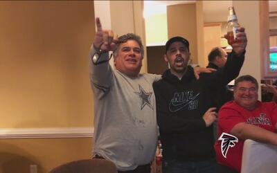 Aficionados de los Falcons viven alegría y tristeza en el Super Bowl