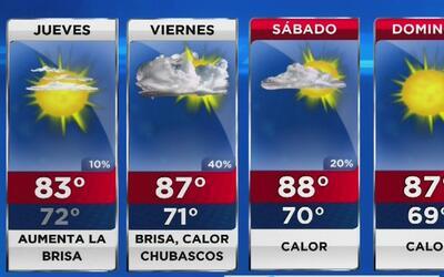 Día mayormente soleado, cálido y con vientos para este jueves en Miami