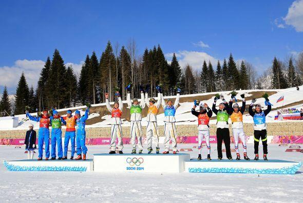 Igualmente incontestable fue el triunfo de Suecia en la prueba de relevo...