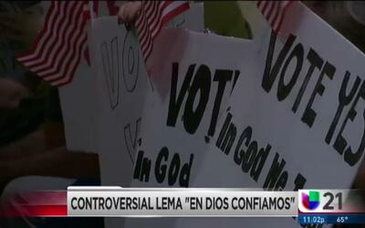 """Controversial lema """"En dios confiamos"""""""
