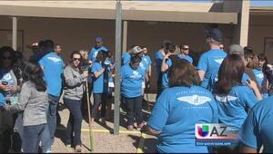 Voluntarios embellecieron una escuela primaria