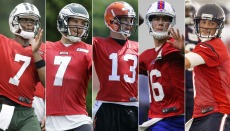 Geno Smith, San Bradford, Josh McCown, Matt Cassel y Brian Hoyer (AP-NFL).