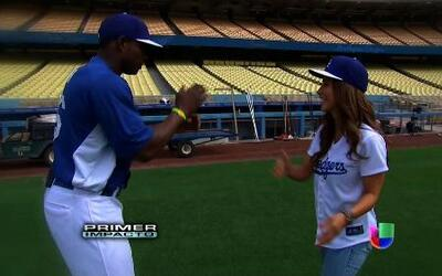 Jackie Guerrido tomó clases de béisbol con el jugador de grandes ligas J...