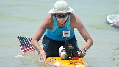 Cynthia Aguilar habitualmente trabaja como salvavidas en las playas de M...
