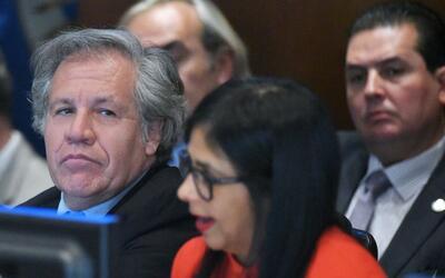 Luis Almagro, secretario general de la OEA, sentado al lado de Delcy Rod...